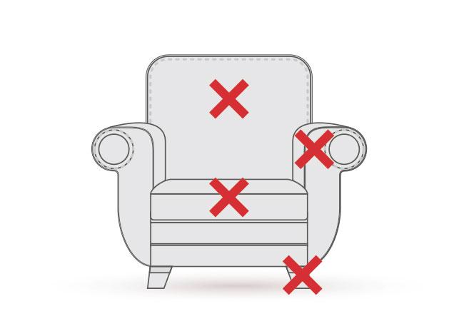 1人掛けソファーの張り替え・修理箇所の図