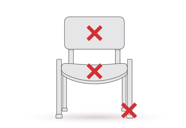 ダイニングチェアーの背もたれと座面の張り替え・修理箇所の図