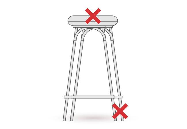 スツールの張り替え・修理箇所の図